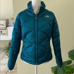 The North Face 550 Shiny Teal Down Puffer Jacket